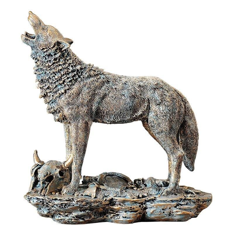 Résine loup Statue animaux Figurine loup faune ornement Animal Totem loup chien Sculpture artisanat décorations pour la maison cadeau R1312