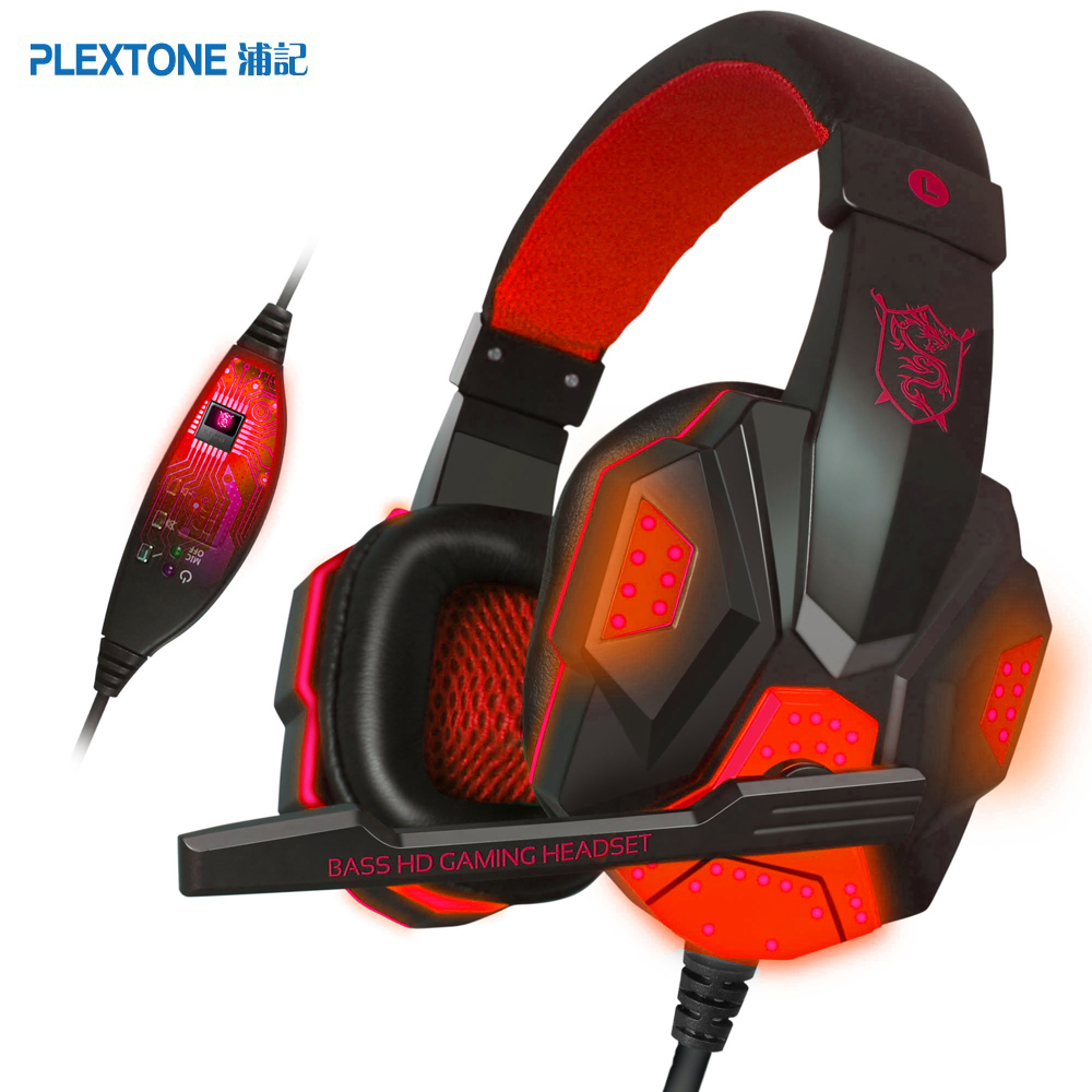 New Gaming Headset Plextone PC780 Game Headphones with Microphone Stereo Bass Earphone Stereo Sound LED Audio Cable for PC gorsun m962 stereo pc game headset headphones w microphone black red 3 5mm plug 200cm cable