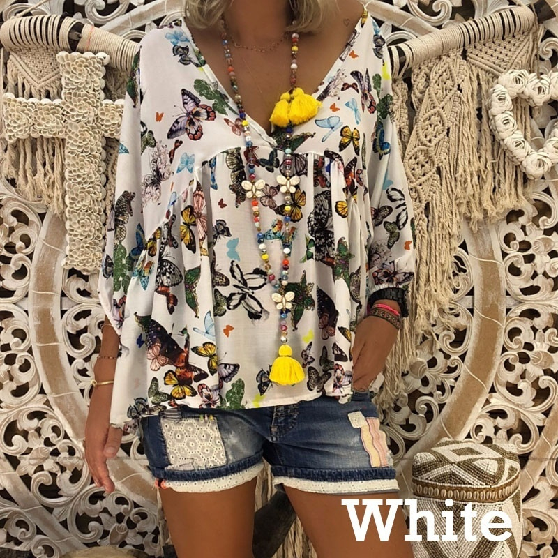 Women Autumn Tops Boho   Shirts   Floral Butterfly Printed   Blouse   Ladies Long Sleeve Loose   Shirts   Casual Deep V Neck Blusas
