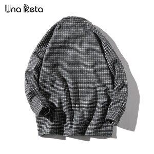 Image 3 - Una Reta Men Shirt Autumn and Spring New Brand Hip Hop Retro Lapel Shirt Men Fashion Streetwear Lattice Single Breasted Shirts