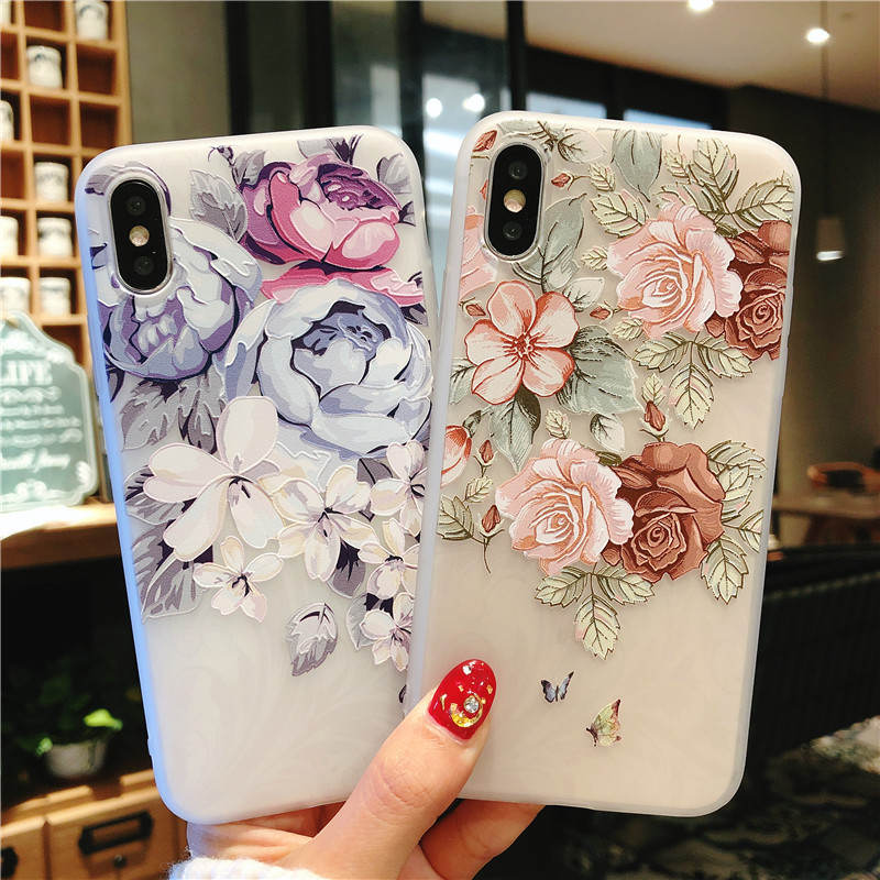 Embossed Small Fresh For Iphone 6 6s 7 8P X Xs Xr Max Embossed Small Fresh Anti Fall Mobile Phone Case in Fitted Cases from Cellphones Telecommunications