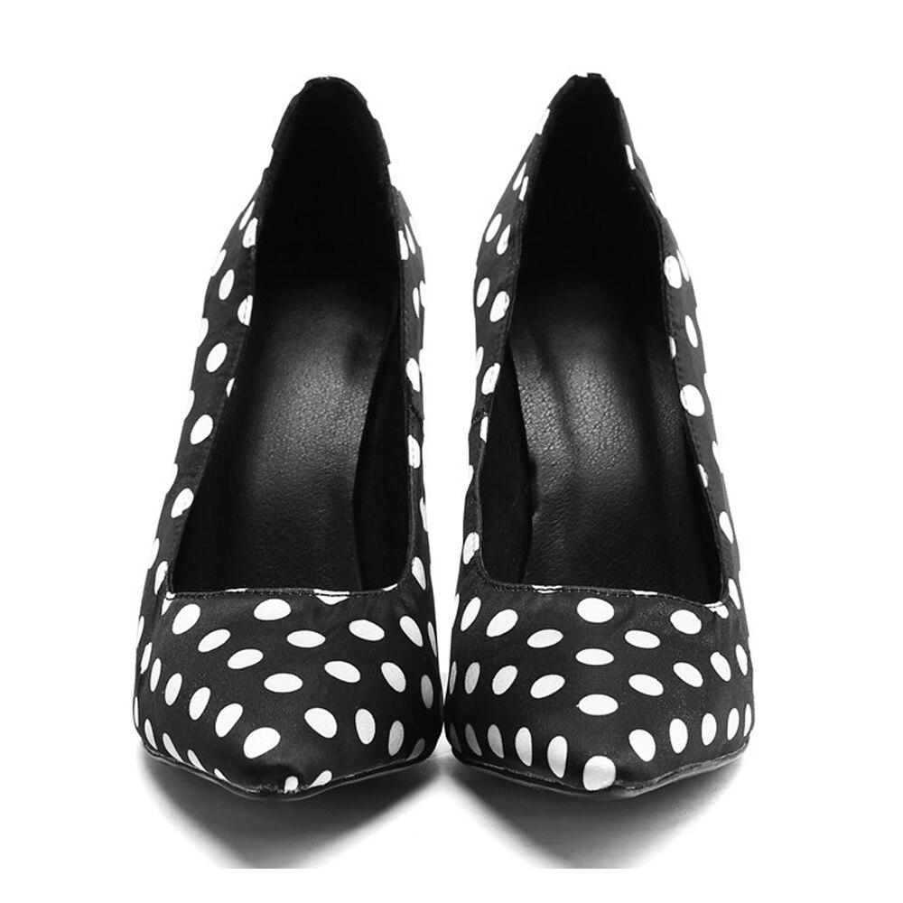 Tamaño Black Del Original Negro Pie Las Zapatos Dedo Tacones Bombas Ef1684 Puntiagudo Intención Lunares Damas La Gran Mujer De Moda Mujeres qUcBWRzw