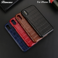 B89 For IPhone X Case Luxury Crocodile Print Genuine Leather Back Cover For IPhone 6 7