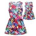 2016 Meninas Vestido de Impressão Pokemon Trajes Crianças Vestido Listrado Ocasional Robe Para O Bebê Menina Princesa Vestido de Verão Roupa Dos Miúdos