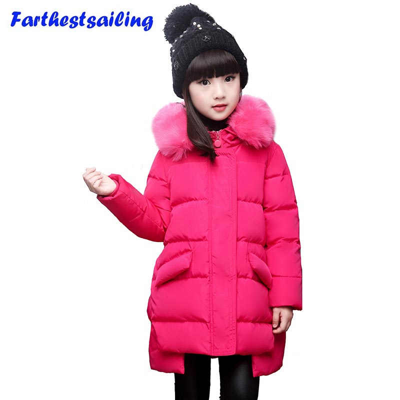 winter jacket for girls thickening long coats big children 's clothing 2017 girl' s jacket Outwear 4-11 year купить недорого в Москве