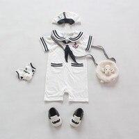 2016 New Arrival Summer Baby Rompers Infants Sailor Style Boys Short Sleeve Jumpsuit Hat Navy 2pcs