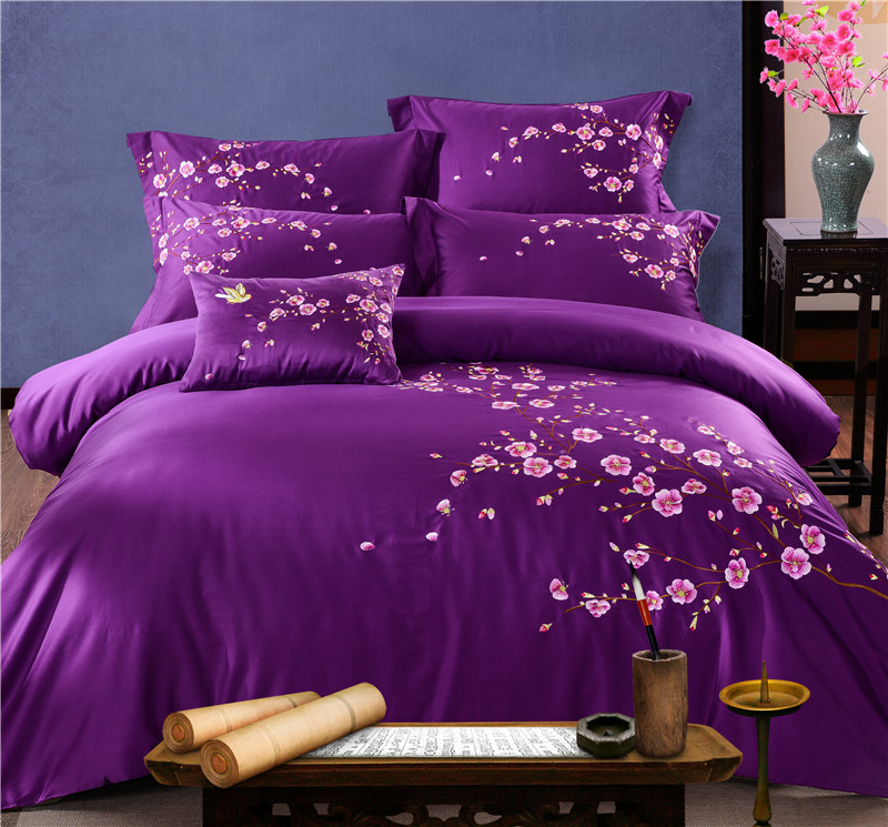 Flowers Embroidered Bedding Set King Queen size Bed set Quilt Cover Duvet Cover Bed sheet set Pillowcases Purple Pink Color