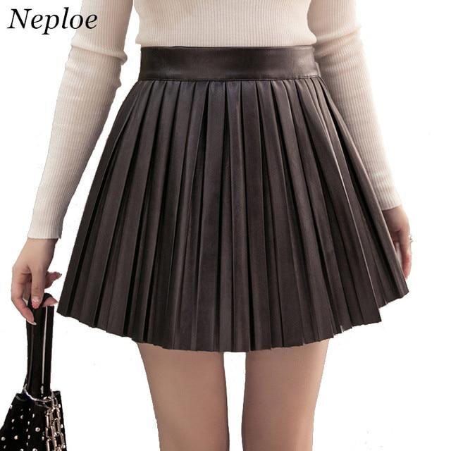 431a02ea4 Neploe 2019 New Wild Korean Solid High Waist Slim PU Pleated Skirt Women  Autumn Winter Fashion Wild Mini Skirt 66150