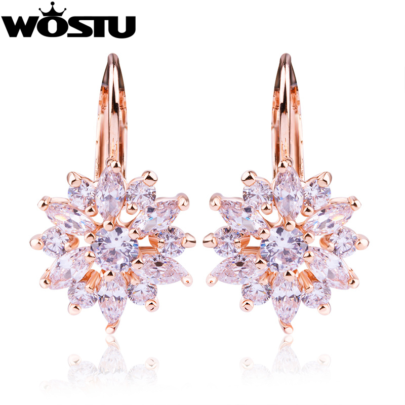 WOSTU Luxury Champagne Gold Flower Earrings with Zircon Stone for Women Bursdagsgave blomsterøreringer Bijouterie SDSE014