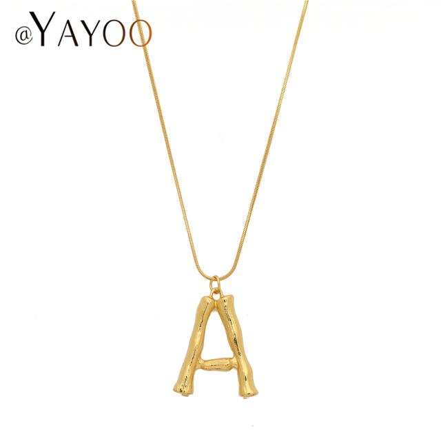 Initial Letters Necklace Women Gold Color Chain 2018 Fashion Long Necklaces Big Pendant Boho Statement Necklace Collier Femme