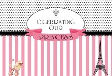 Laeacco Birthday Princess Stripes Eiffel Tower Circle Pattern Photo Background Customized Photography Backdrops For Studio