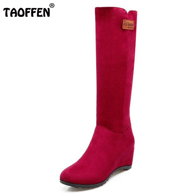 TAOFFEN Ladies Height Increasing Knee High Snow Boots Women Round Toe Wedges Shoes Women Winter Thick Fur Warm Botas Size 33-43 kemekiss size 34 43 ladies height increasing mid calf boots women round toe cross tied shoes women thick fur warm snow botas