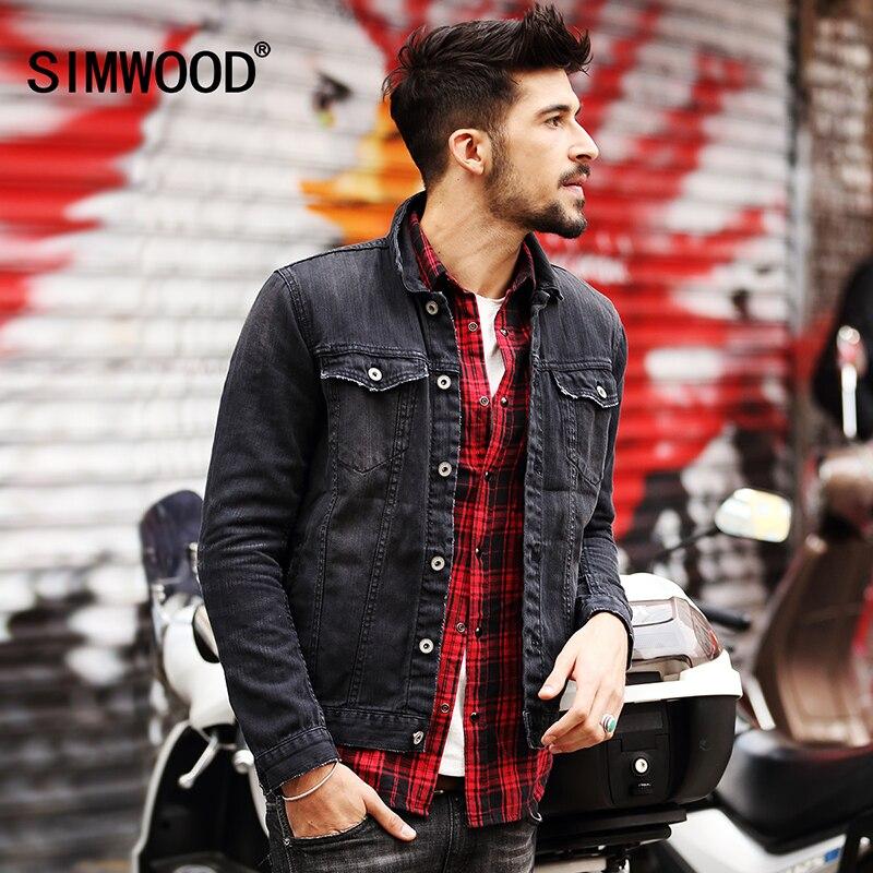 b82569e734c61 SIMWOOD 2019 New Spring Men Denim Jacket Fashion Casual Slim Jean Jacket  Coat long sleeve brand clothing NJ6508-in Jackets from Men s Clothing on ...