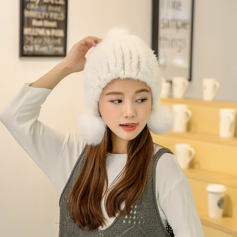 Winter New Authentic Thick Warm Mink Fur Hat Knitted Fox Fur Ball Ms Luxury fashion Winter