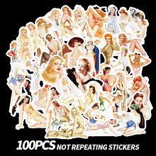 Retro Sexy Stickers Laptop Skateboard Girl Sticker Children Toys Waterproof Luggage Graffiti Stickers Classic Toys 100pcs/Pack(China)