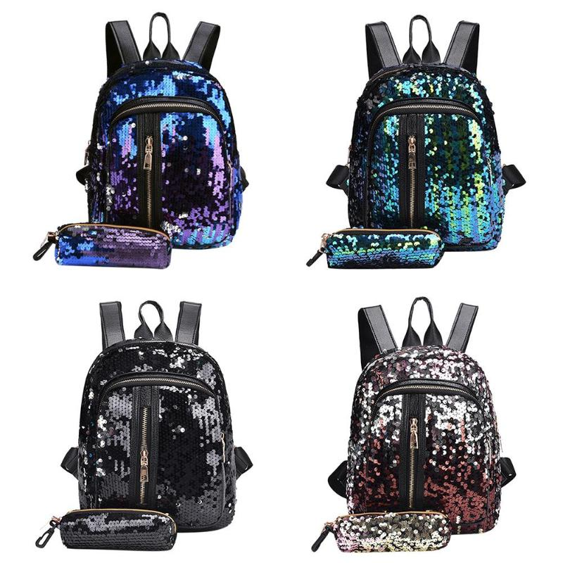 2pcs/set New Teenage Bling Glitter Sequins Backpack Girls Rucksack Students School Bag With Pencil Case Clutch #2