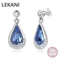 LEKANI Crystals From SWAROVSKI Fine Jewelry Real S925 Silver Water Drop Earrings For Women Wedding Party Fashion Piercing Joyas