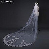3 M Long Cathedral Bridal Wedding Veil Comb Sparkly Sequin Appliques Edge Wedding Accessories Velos De Novia Veu De Noiva Longo