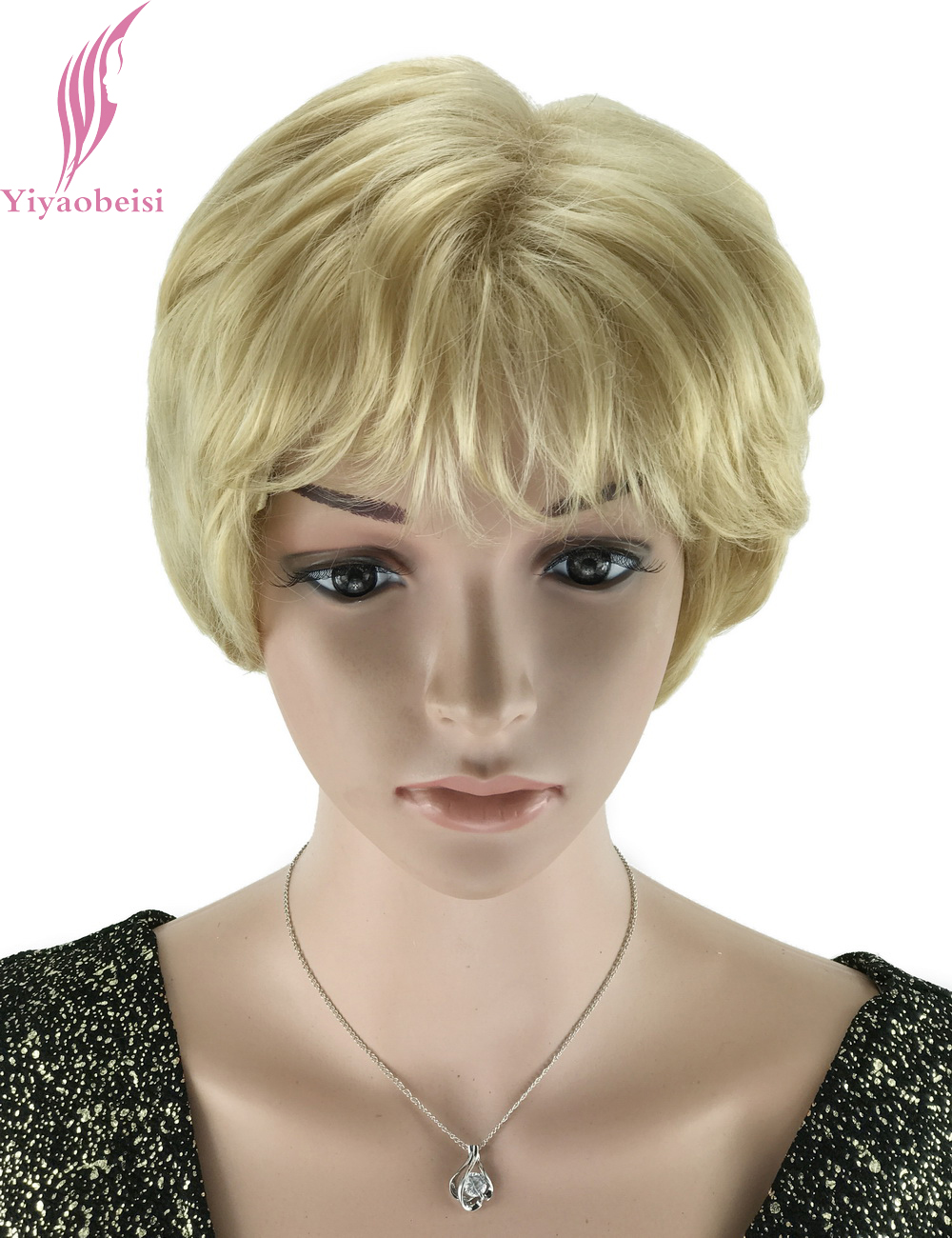 Yiyaobess 6inch Light Blonde Wigs For Older Women Puffy Hairstyles Synthetic Natural African American Short Hair Wig