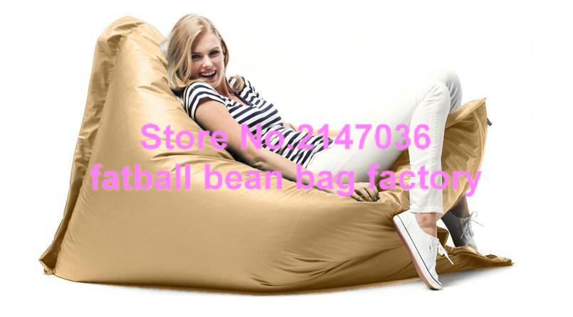 golden color elegant large bean bag chairs for adults waterproof outdoor indoor polyester bean bag