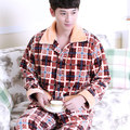 winter male Long sleeves Thickening Flannel lapel Two piece suit cardigan home service