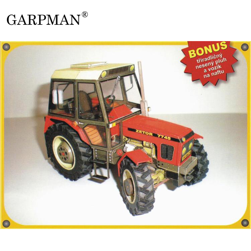Construction Machinery Zetor 7745 / 7211 Tractor 3D Paper Model DIY Handmade Papercraft ToyConstruction Machinery Zetor 7745 / 7211 Tractor 3D Paper Model DIY Handmade Papercraft Toy