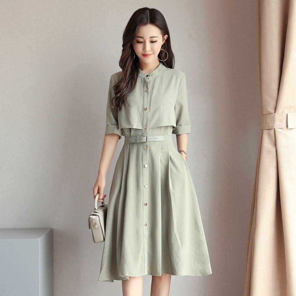 Knee Length Chiffon Dress Women Bandage Green Elegant Casual