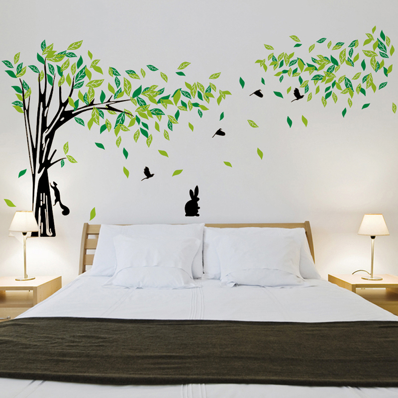 ... large green tree wall stickers vinyl living room wall decal home ...