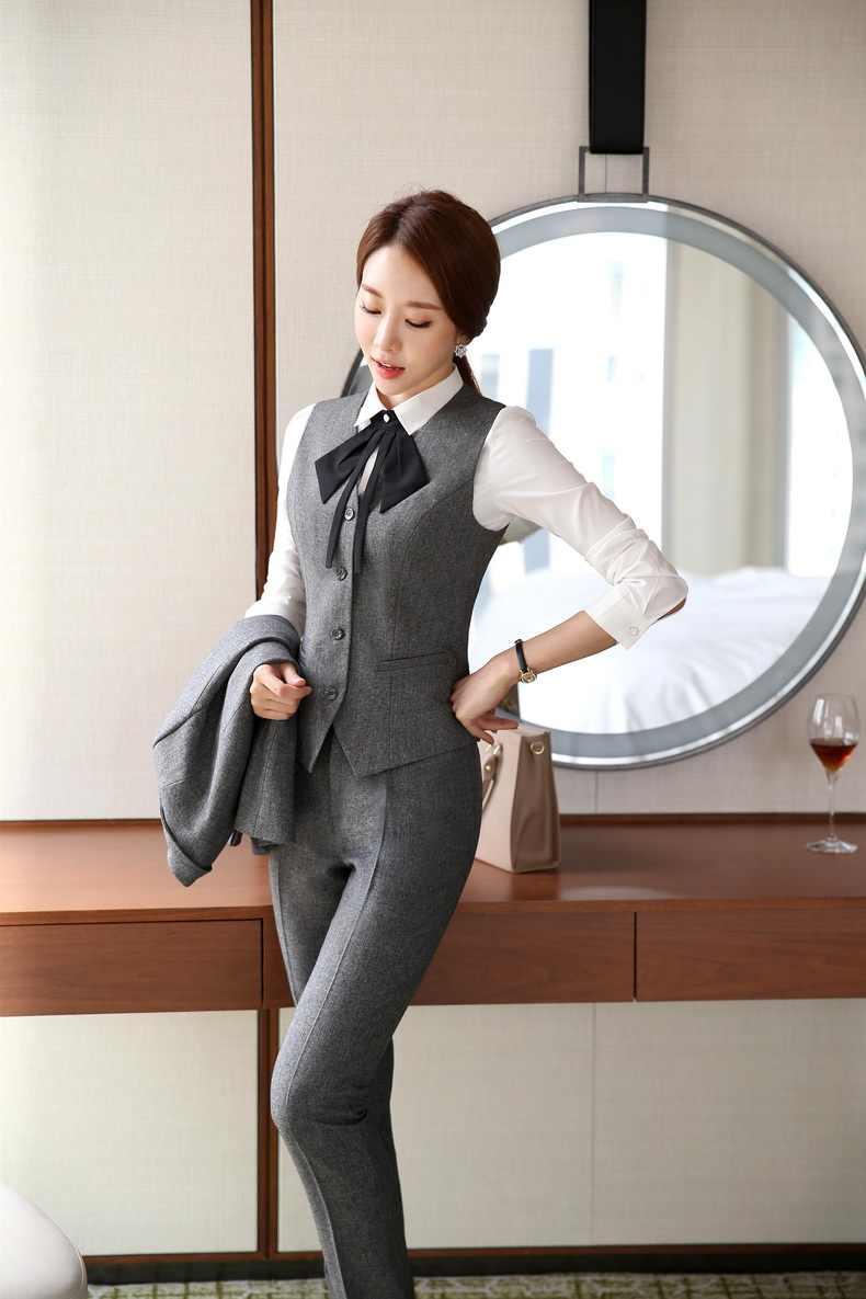 cb9cc1ddee50 ... Novelty Grey Slim Fashion Professional Female Pantsuits Business Women  Work Wear Vest + Pants Ladies Blazers ...