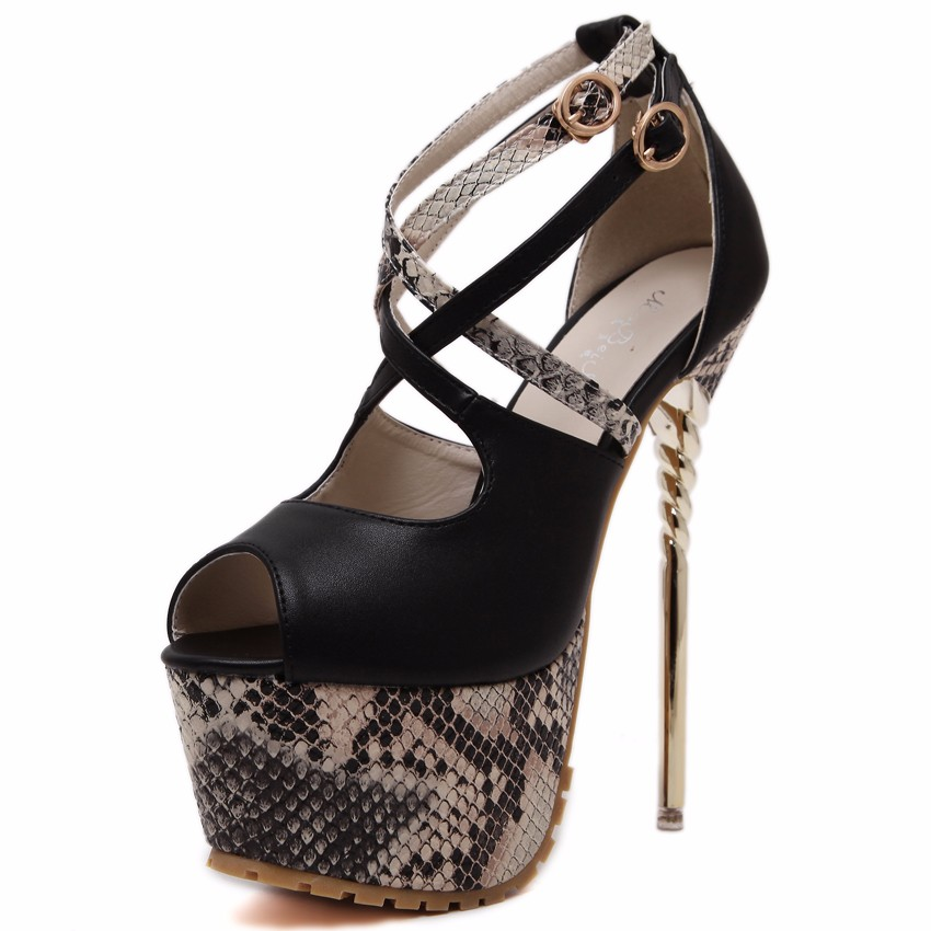 High Quality 2016 Fashion Shoe font b Woman b font Serpentine Printing Peep Toe Cross Strap
