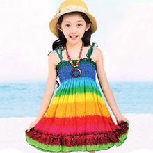 New 2020 Summer Style Baby Girls Dress Children Dresses Peacock For Bohemian Clothes