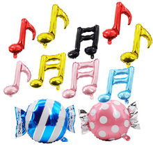 Kids party candy balloon Wedding,birthday party,baby shower Aluminum foil music note balloon background DIY hanging decorations(China)