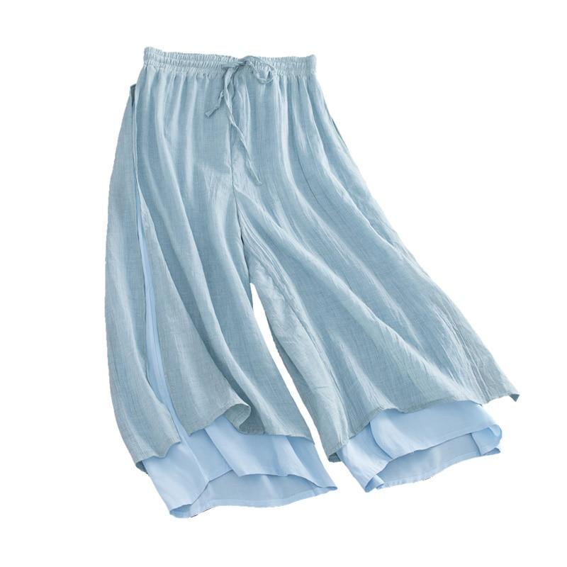 2019 summer women's black casual loose   Wide     Leg     Pants   white Vintage Cotton Linen Capris Elastic High waist Pleated   Pants   women