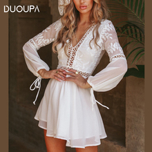 DUOUPA 2019 European and American New Long-sleeved Organza Stitching V-neck Halter Strap Waist Dress