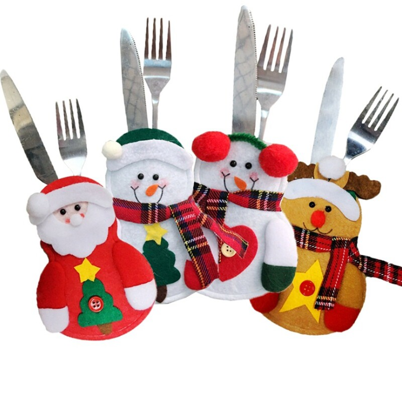 Christmas Table Decorations Knife & Fork Bag Christmas Cutlery Set Small Clothes Cartoon Santa Claus Snowman Decoration Gifts