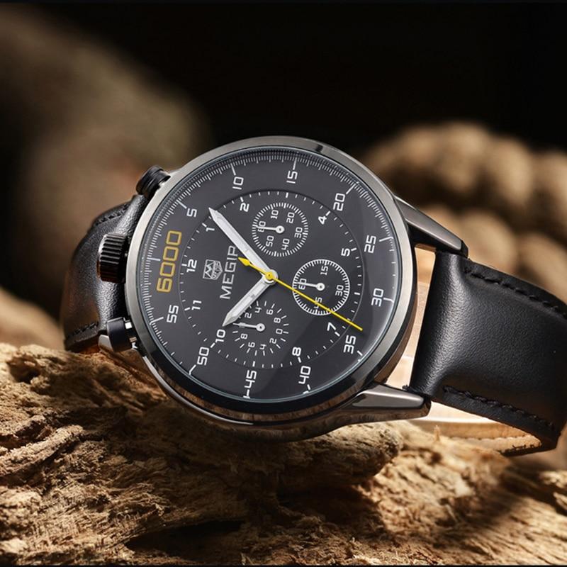 New MEGIR Men Quartz Watch Fashion Sprot Casual Watch Genuine Leather Three Working Sub dials Wristwatch