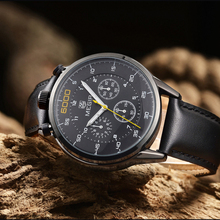 Новый MEGIR Мужчины Кварцевые Часы Мода Sprot Повседневная Часы Натуральная Кожа Три Рабочих суб-набор Наручные Часы Relogio Masculino