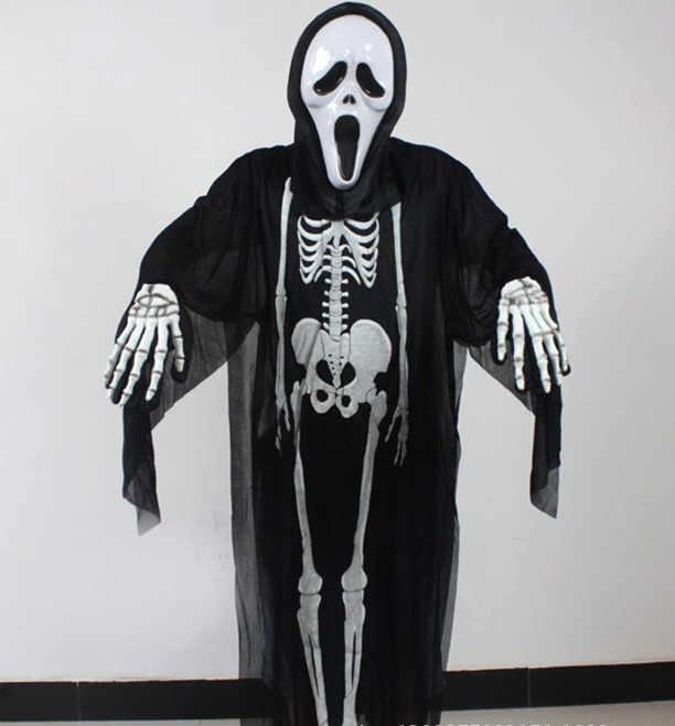 Grim Man Black Robe xl Chain Reaper Unisex Costume Halloween Fancy Dress