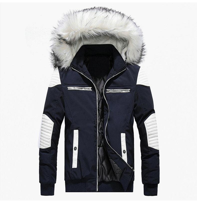 Autumn Winter Jacket Men 18 New Big Fur Hooded Thick Warm Mens Winter Coats Patchwork Color Windproof Parka Men Outwear 2