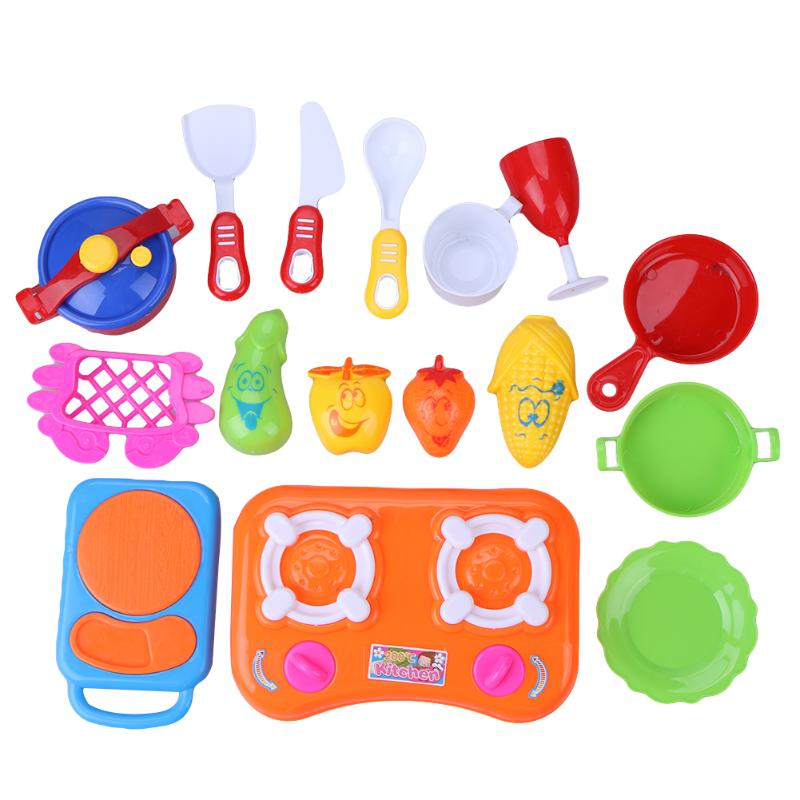 Baby Kids Girls Pretend Play Kitchen Cooking Toys Kids Children DIY Plastic Educational Role Play Toy Set Plastic Kitchen Toy