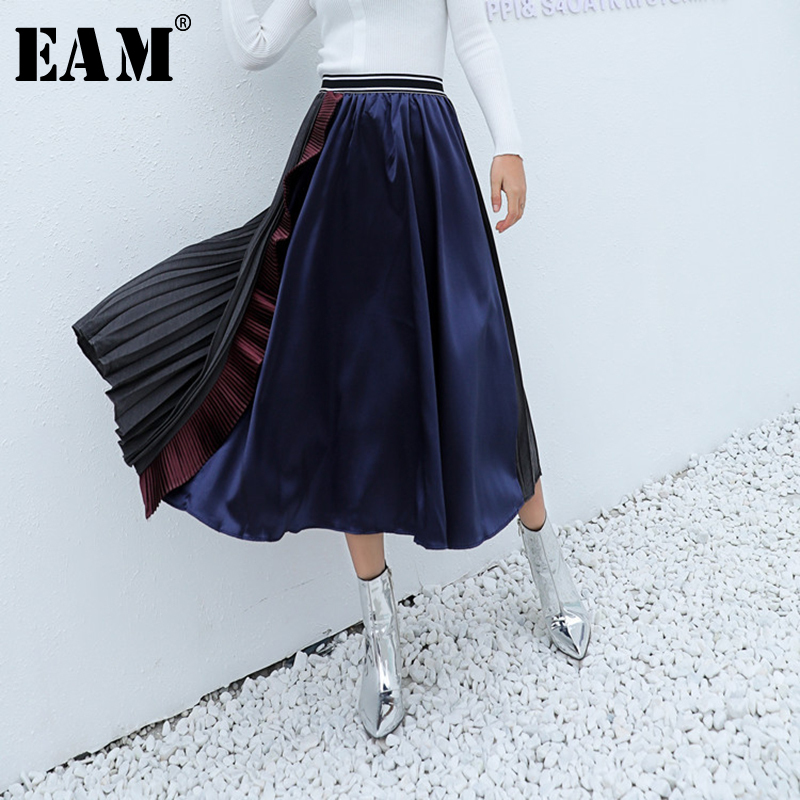 [EAM] 2020 New Spring Summer High Elastic Waist Blue Hit Color Pleated Stitch Ruffles Half-body Skirt Women Fashion Tide JU193