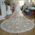 I Bay U Real Photos New Hot Sale High Quality 4.0 Meters Length One Tiered Lace Beading Edge Long Luxury Wedding Veil Bridal