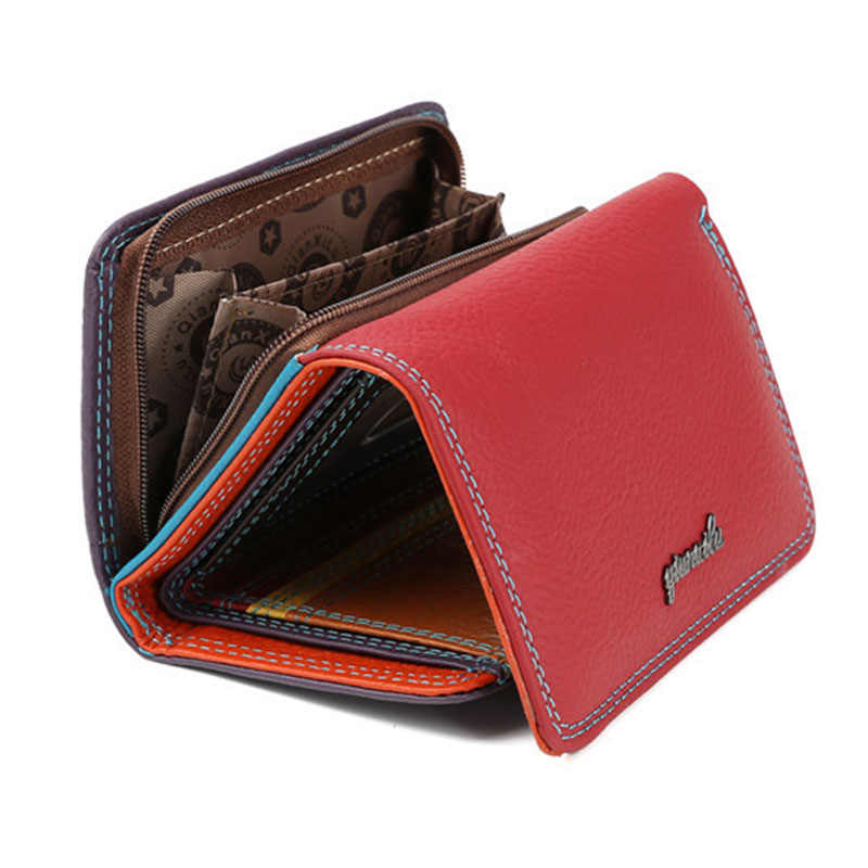 New Luxury Soft geniune Leather Women Hasp Wallet Fashion Tri-Folds Clutch For Girls Coin Purse Card Holders Female WM22
