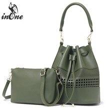 INONE  Ladies Hand Bags Vegan Leather Hollow Out Bucket Women Messenger Shoulder Bag Crossbody 2 in 1 Purse pcs Set