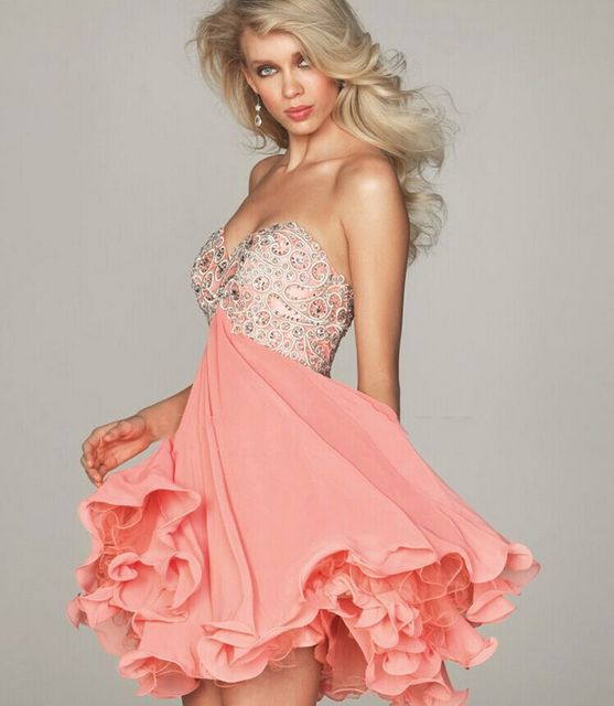 Pink Girls Ball Short Beading One shoulder Cocktail Dresses Mini Sexy Party Gown robe de cocktail prom vestidos de fiesta GD12