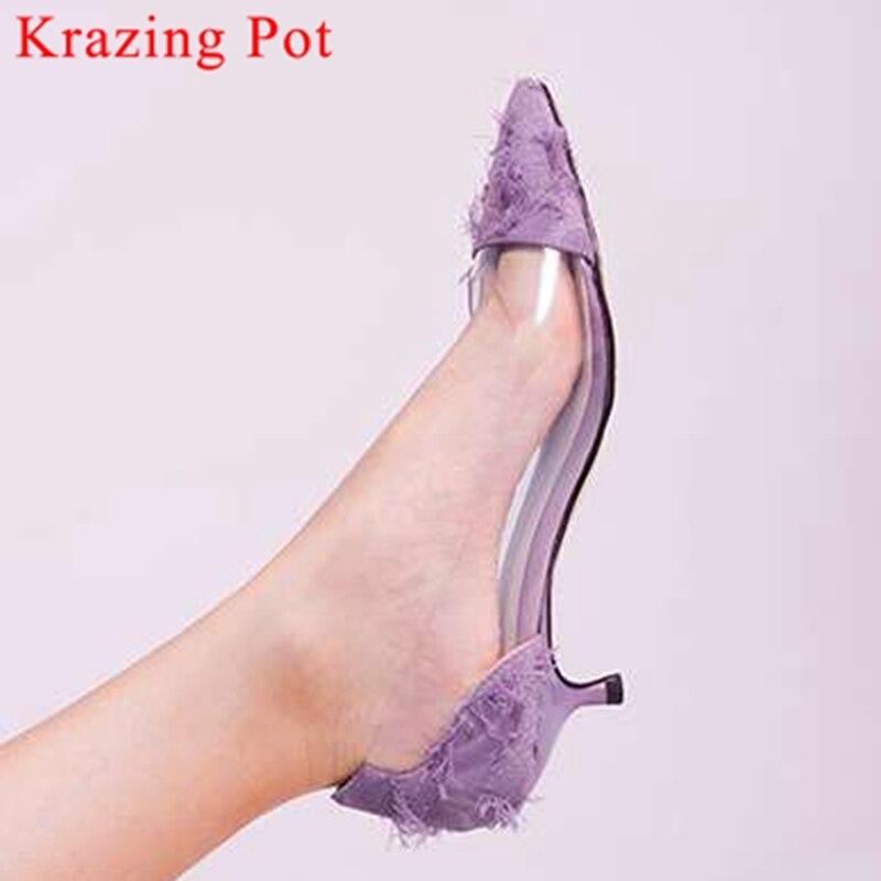 Hollywood movie stars pointed toe slip on popular pvc med kitten heels british style transparent elegant