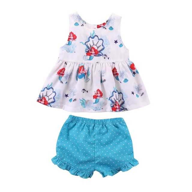 cedf78fdccfa Toddler Girls Summer Clothing Set Kids Baby Girls Boutique Outfits Princess  Ariel Little Mermaid White Top + Ruffle Shorts 2Pcs