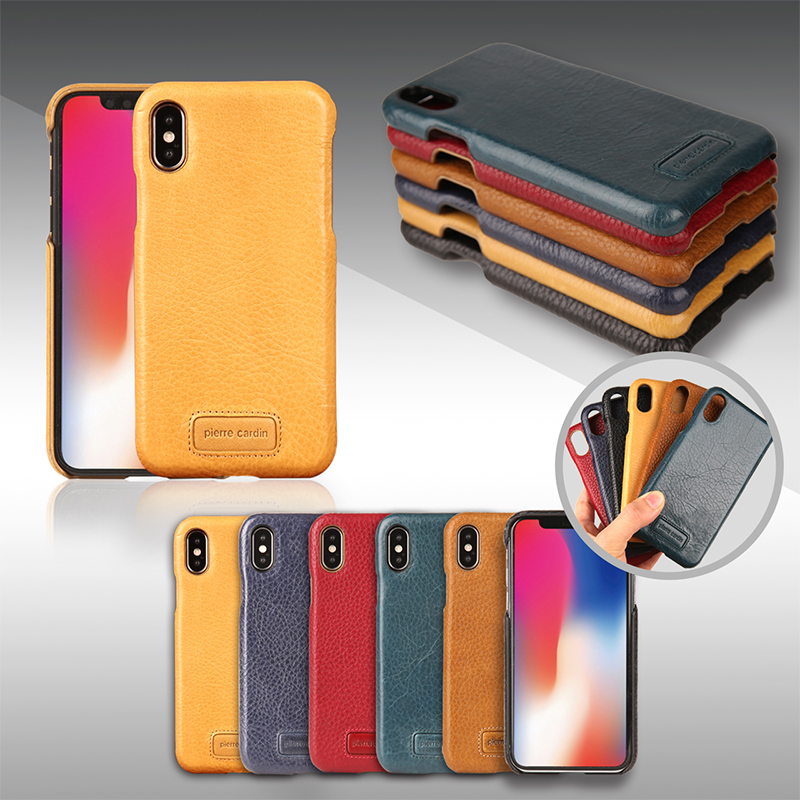 For iPhone X Case Original Pierre Cardin Genuine Leather Case For iPhone X Cover Luxury Cell Phone Cases For iPhoneX Back Cover iPhone XS