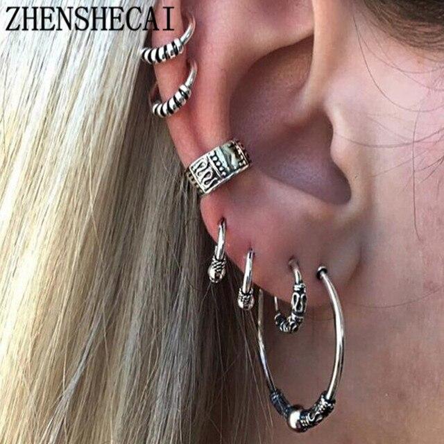 Trendy 6 units/set Bohemian Retro Silver Earrings Punk Vintage Long Earings for women Ear Clip Jewelery Wholesale e0263