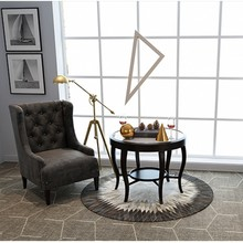 luxury cowhide seamed round rug modern natrual milch cowskin chequer carpet for living room bedroom decoration American style